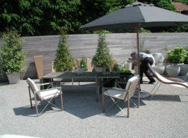 terrasse avec stabilisateur de gravier 1