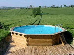 Terrasse bois piscine octogonale - Piscine hors sol octogonale bois ...