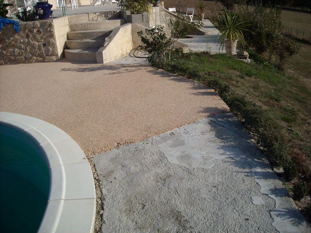 Terrasse gravier sable for Installer gravier jardin