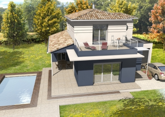 Terrasse couverte modele for Exemple amenagement maison