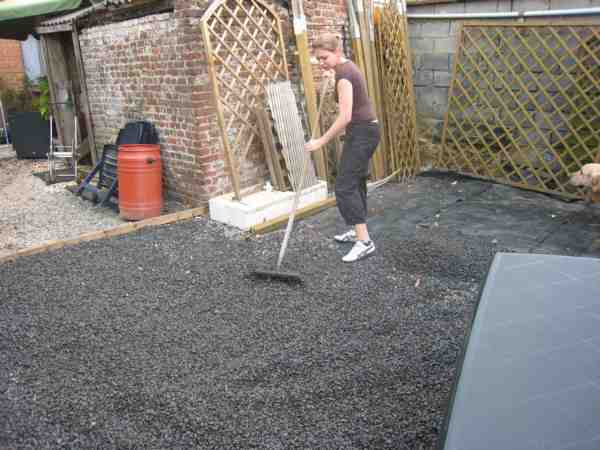 terrasse gravier geotextile. Black Bedroom Furniture Sets. Home Design Ideas