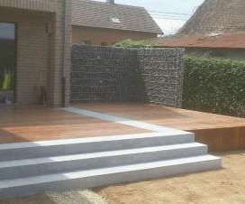 Terrasse pour piscine ronde - Terrasse bois et pierre ...